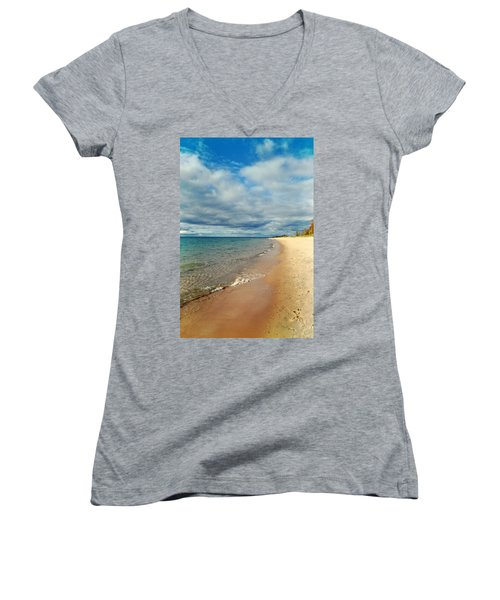 Women's V-Neck T-Shirt featuring the photograph Northern Shore by Michelle Calkins