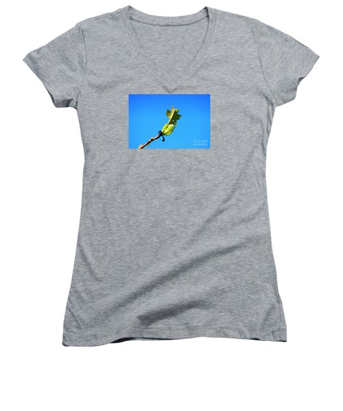 Norway Maple Leaf 20120402_171a Women's V-Neck T-Shirt (Junior Cut) by Tina Hopkins
