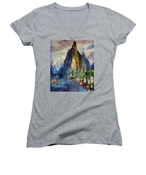 Norwegian Vista Women's V-Neck T-Shirt (Junior Cut) by Mario Carini