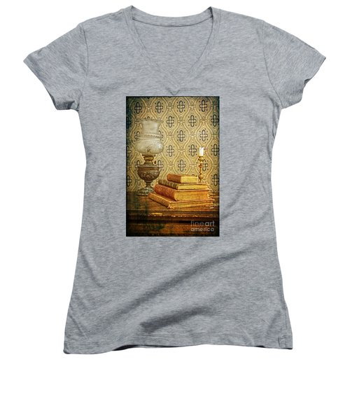 Women's V-Neck T-Shirt (Junior Cut) featuring the photograph Nostalgic Memories by Heiko Koehrer-Wagner