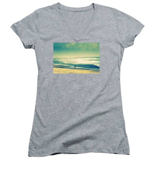 Nostalgic Oceanside Oregon Coast Women's V-Neck T-Shirt (Junior Cut) by Amyn Nasser