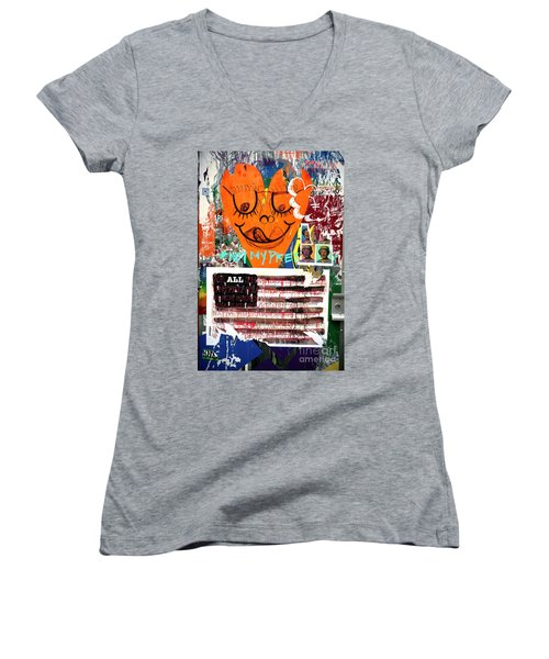 Women's V-Neck T-Shirt (Junior Cut) featuring the photograph Not My President by John Rizzuto