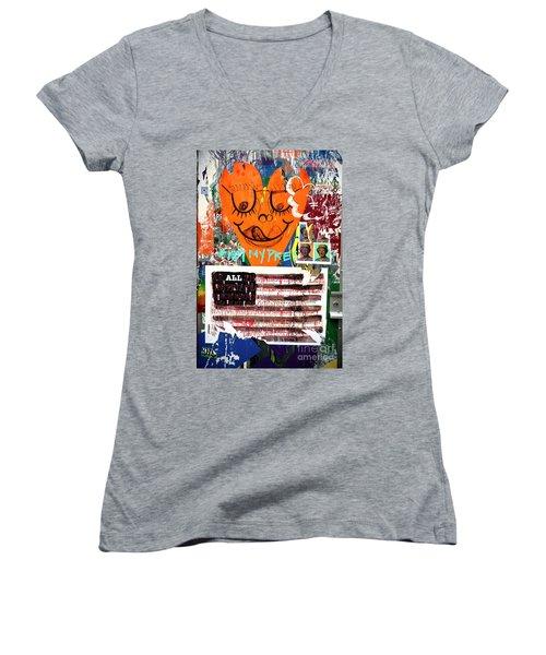 Not My President Women's V-Neck T-Shirt (Junior Cut) by John Rizzuto