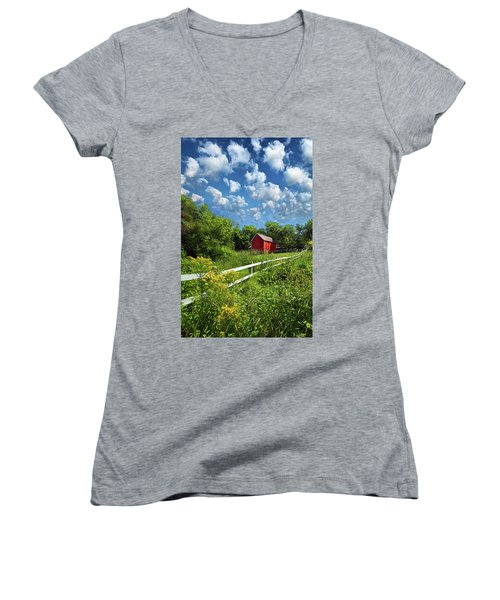 Noticing The Days Hurrying By Women's V-Neck T-Shirt (Junior Cut) by Phil Koch