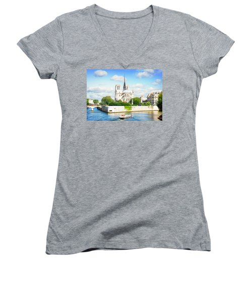 Notre Dame Cathedral, Paris France Women's V-Neck T-Shirt (Junior Cut) by Anastasy Yarmolovich