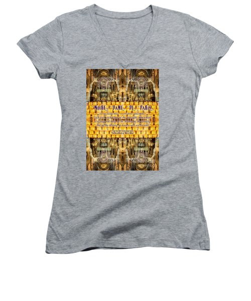 Notre-dame Cathedral Rose Stained Glass Candles Novel Quote Women's V-Neck