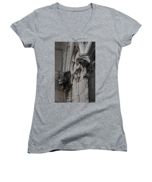 Notre Dame Grotesques Women's V-Neck T-Shirt (Junior Cut) by Christopher Kirby