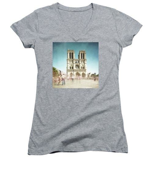 Women's V-Neck T-Shirt (Junior Cut) featuring the photograph Notre Dame by Hannes Cmarits