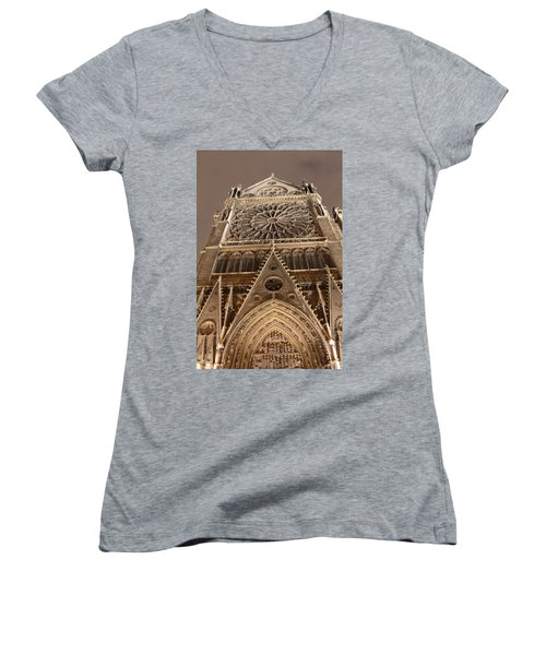Women's V-Neck T-Shirt (Junior Cut) featuring the photograph Notre Dame North by Christopher Kirby