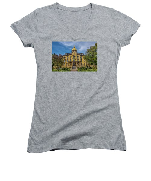 Women's V-Neck T-Shirt (Junior Cut) featuring the photograph Notre Dame University Golden Dome by David Haskett