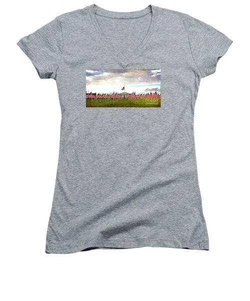 Women's V-Neck T-Shirt (Junior Cut) featuring the photograph Nov5th Memorial - No.2009 by Joe Finney