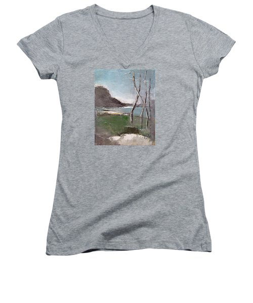 Women's V-Neck T-Shirt (Junior Cut) featuring the painting November by Becky Kim