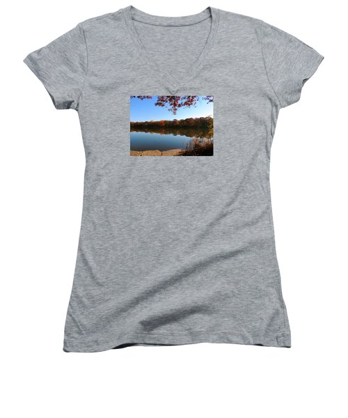 Women's V-Neck T-Shirt (Junior Cut) featuring the photograph November Colors by Teresa Schomig