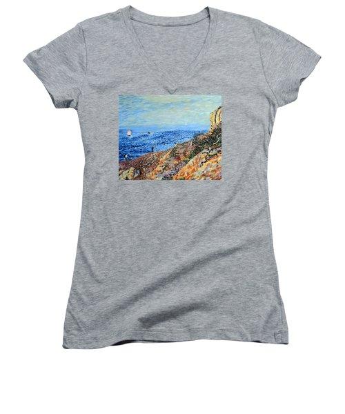 November Day At Point Lobos San Francisco Women's V-Neck T-Shirt