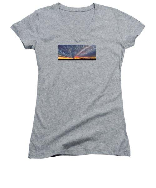 Women's V-Neck T-Shirt (Junior Cut) featuring the photograph November Magic by Rod Seel