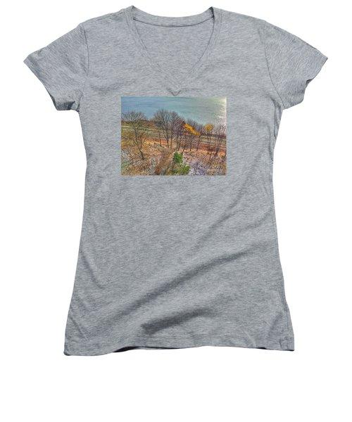 November Snow On Casco Bay Women's V-Neck T-Shirt (Junior Cut)