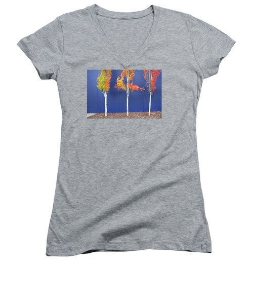 Women's V-Neck T-Shirt (Junior Cut) featuring the photograph Now Showing by Theresa Tahara