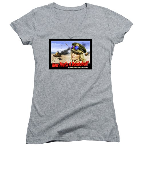 Women's V-Neck T-Shirt (Junior Cut) featuring the photograph Now Thats A Bombshell by Don Olea