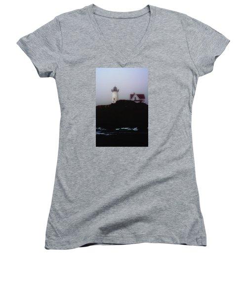 Women's V-Neck T-Shirt (Junior Cut) featuring the photograph Nubble Light House by Richard Ortolano