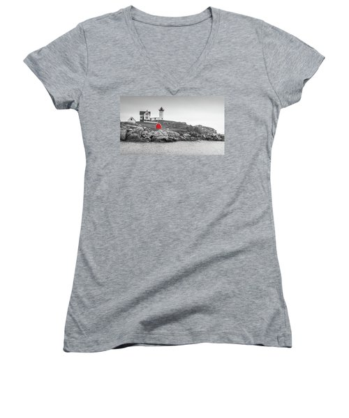 Nubble Lighthouse In Color And Black And White Women's V-Neck