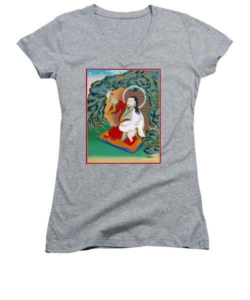 Nubchen Sangye Yeshe Women's V-Neck T-Shirt (Junior Cut) by Sergey Noskov