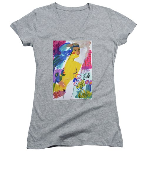 Nude In A Garden Women's V-Neck T-Shirt