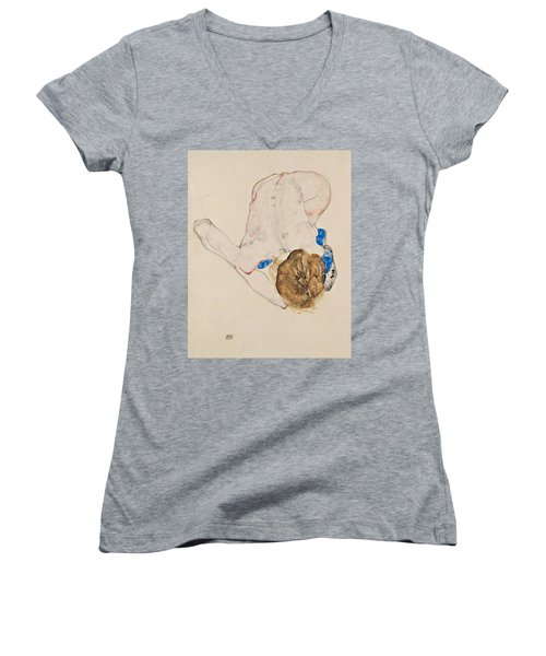 Nude With Blue Stockings, Bending Forward Women's V-Neck (Athletic Fit)