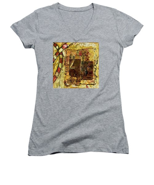 Women's V-Neck T-Shirt featuring the mixed media Number 2 Encaustic Collage by Bellesouth Studio