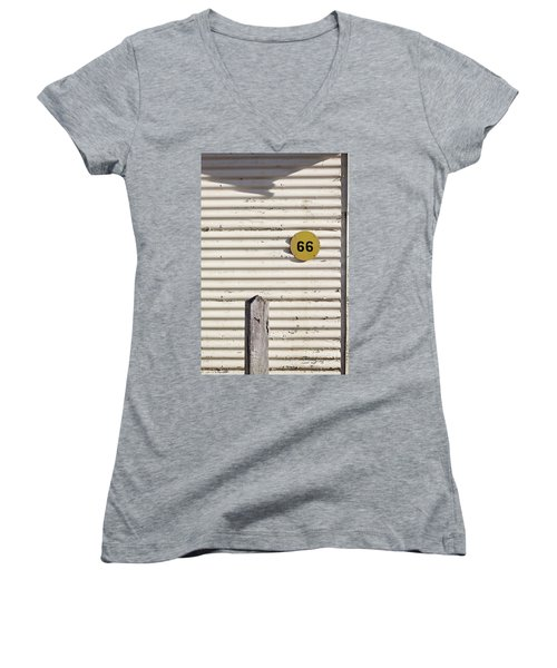 Women's V-Neck T-Shirt (Junior Cut) featuring the photograph Number 66 by Linda Lees
