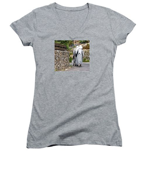 Women's V-Neck T-Shirt (Junior Cut) featuring the photograph Nuns In A Row by Cameron Wood