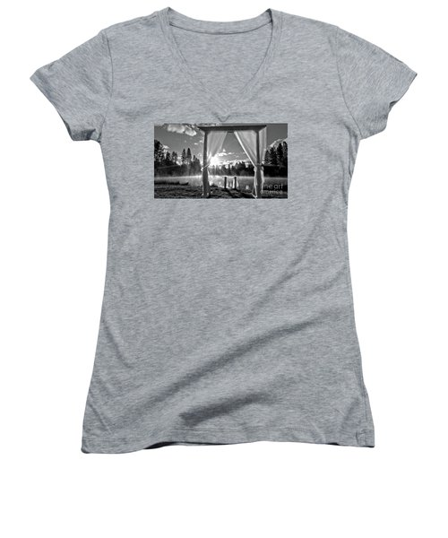 Women's V-Neck T-Shirt (Junior Cut) featuring the photograph Nuptials by Julia Hassett