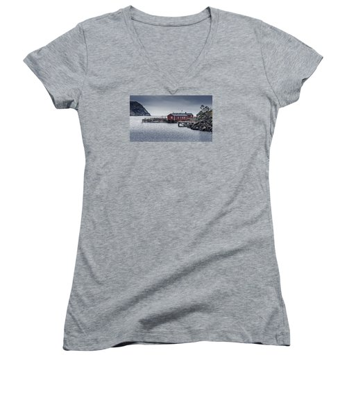 Women's V-Neck featuring the photograph Nusfjord Rorbu by James Billings