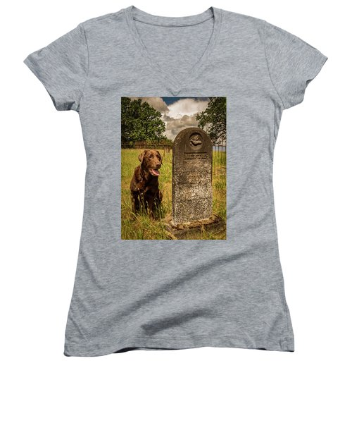Women's V-Neck T-Shirt (Junior Cut) featuring the photograph Nute In The Cemetery by Jean Noren