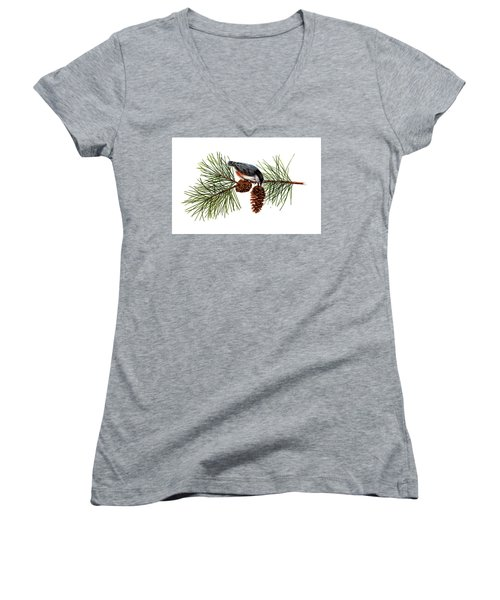 Nuthatch 1 Women's V-Neck T-Shirt