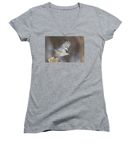 Women's V-Neck T-Shirt (Junior Cut) featuring the photograph Nuthatch In Action by Mircea Costina Photography