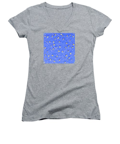 Women's V-Neck T-Shirt (Junior Cut) featuring the painting Nuts And Bolts by Thomas Blood