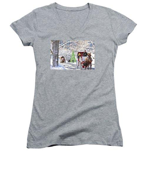 Festive Winter Carriage Rides Women's V-Neck T-Shirt (Junior Cut) by Sandi OReilly