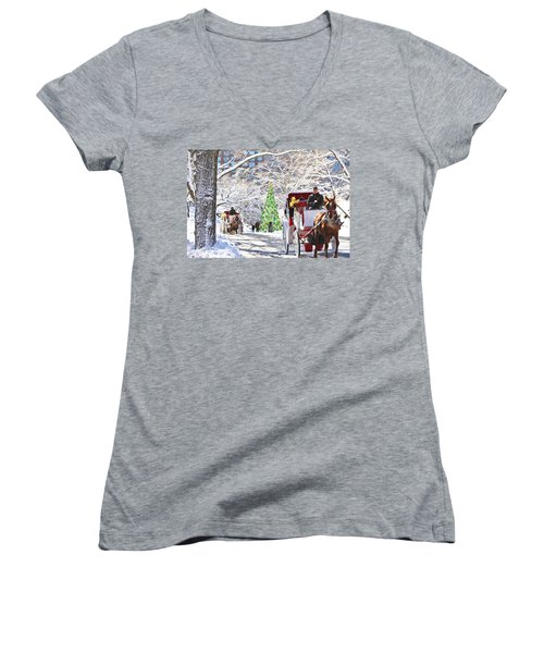 Festive Winter Carriage Rides Women's V-Neck T-Shirt