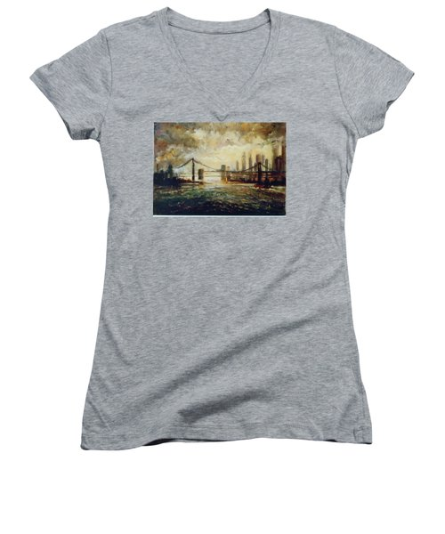 Women's V-Neck T-Shirt (Junior Cut) featuring the painting Nyc Harbor by Walter Casaravilla