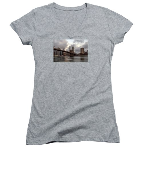 Women's V-Neck T-Shirt (Junior Cut) featuring the photograph Nyc In The Am by Anthony Fields