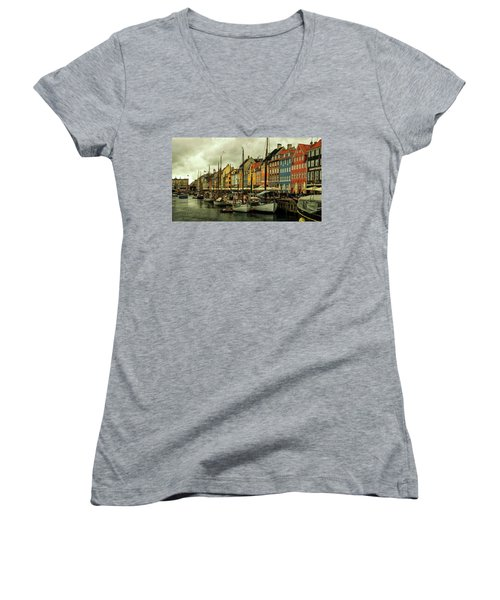 Nyhavn In Copenhagen Women's V-Neck