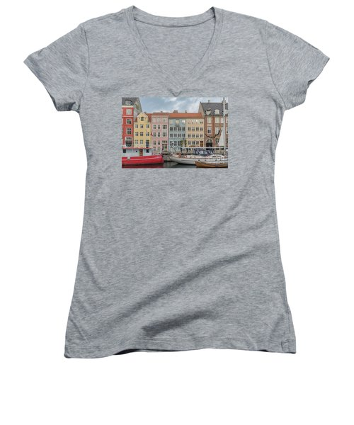 Women's V-Neck T-Shirt (Junior Cut) featuring the photograph Nyhavn Waterfront In Copenhagen by Antony McAulay
