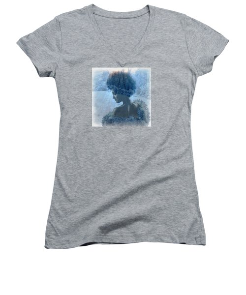 Nymph Of January Women's V-Neck T-Shirt (Junior Cut) by Lilia D