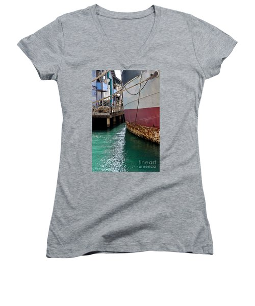 Women's V-Neck T-Shirt (Junior Cut) featuring the photograph Oahu Harbor by Gina Savage