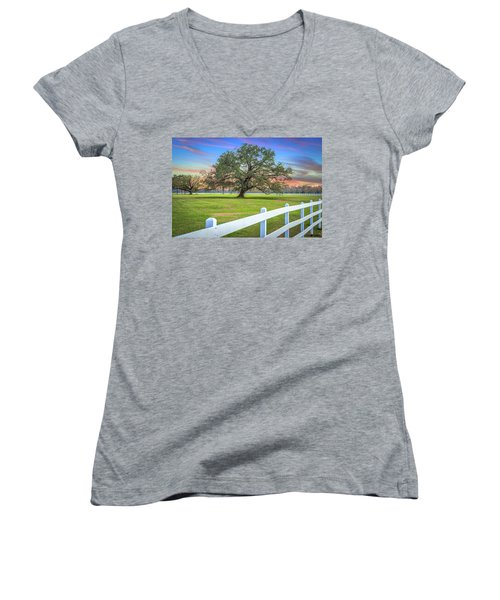 Oak Alley Signature Tree At Sunset Women's V-Neck