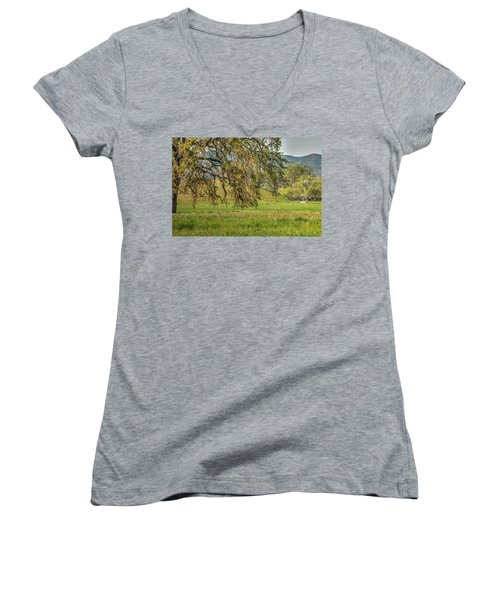 Oak And Windmill In Meadow Women's V-Neck T-Shirt