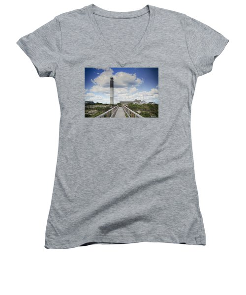 Women's V-Neck T-Shirt (Junior Cut) featuring the photograph Oak Island Lighthouse by Phil Mancuso