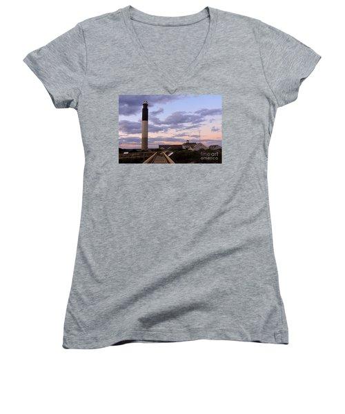 Oak Island Lighthouse Women's V-Neck T-Shirt (Junior Cut) by Shelia Kempf