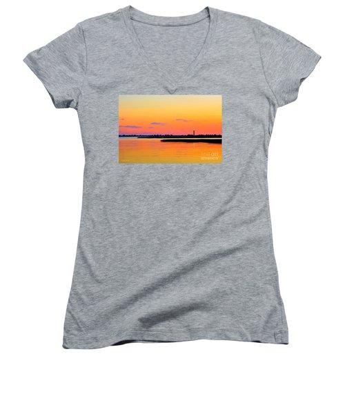 Oak Island Lighthouse Sunset Women's V-Neck T-Shirt (Junior Cut) by Shelia Kempf