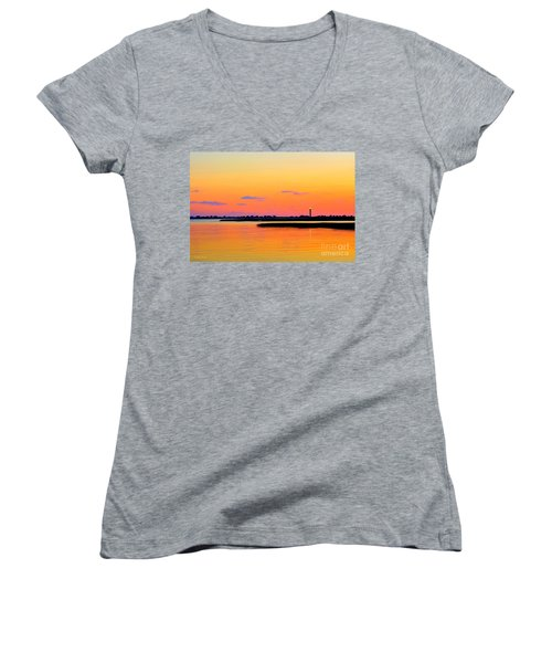 Oak Island Lighthouse Sunset Women's V-Neck T-Shirt